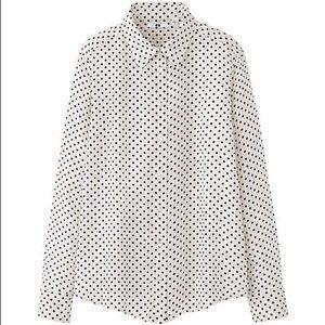 Uniqlo Tops - UNIQLO Polka Dots Silk Shirt